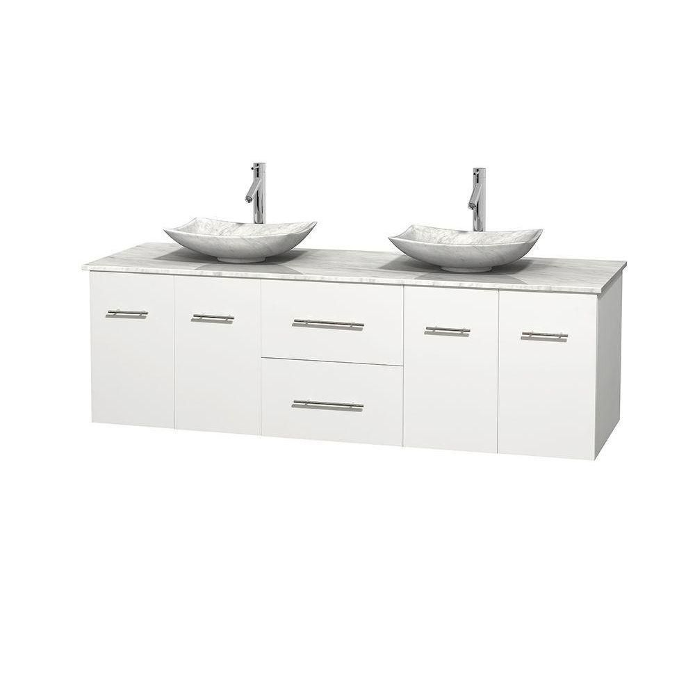 Centra 72-inch W Double Vanity in White with White Top with White Basins