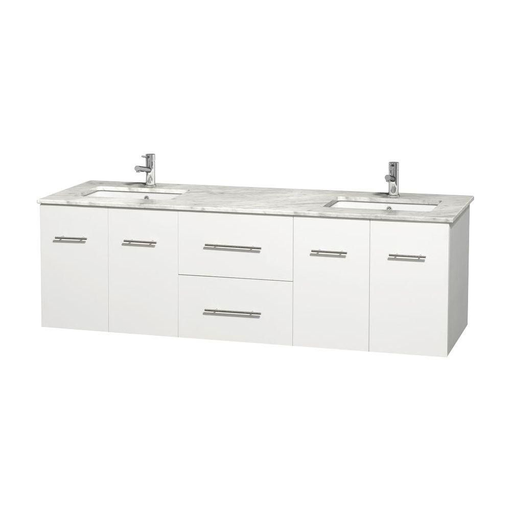 Centra 72-inch W Double Vanity in White with Top in Carrara White and Square Sinks