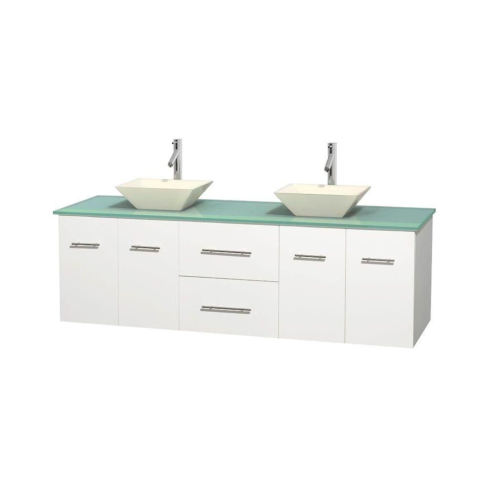 Centra 72-inch W Double Vanity in White with Glass Top with Bone Basins