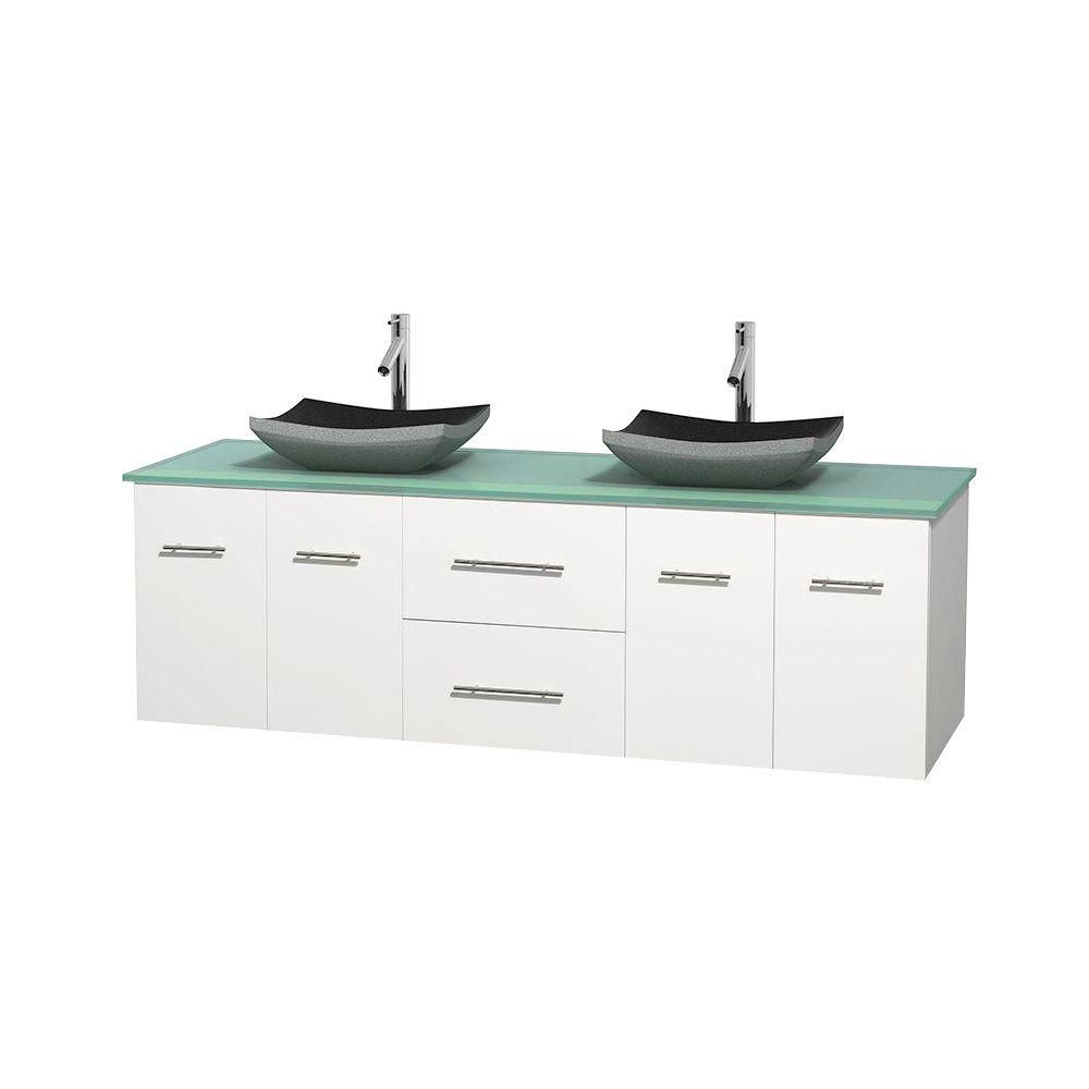 Centra 72-inch W Double Vanity in White with Glass Top with Black Basins
