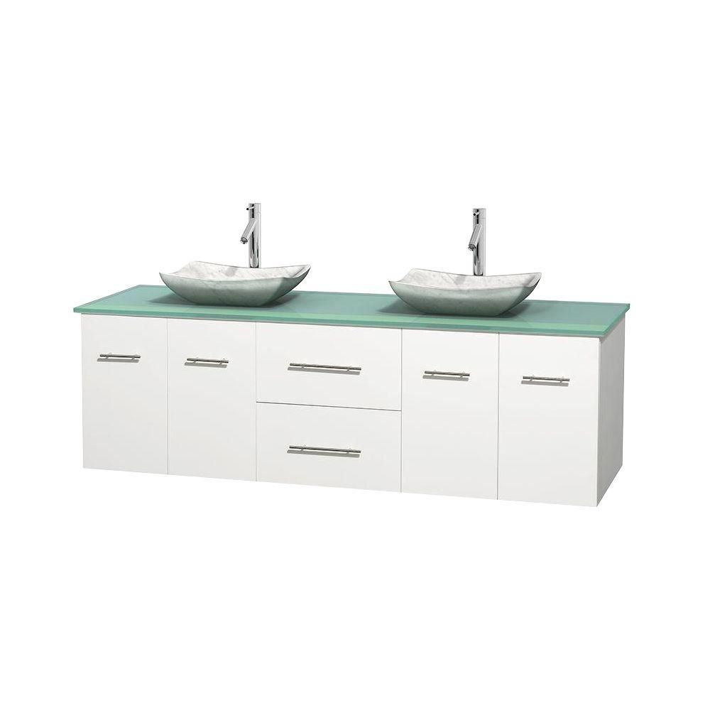 Centra 72-inch W Double Vanity in White with Glass Top with White Basins