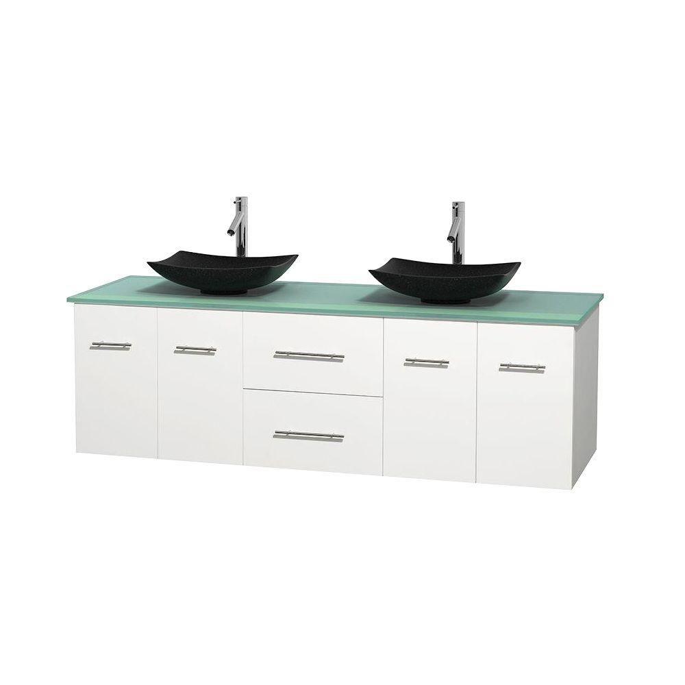 Meuble double Centra 72 po. blanc, comptoir verre vert, lavabos granit noir, sans miroir