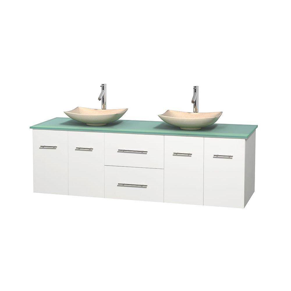 Meuble double Centra 72 po. blanc, comptoir verre vert, lavabos ivoire, sans miroir