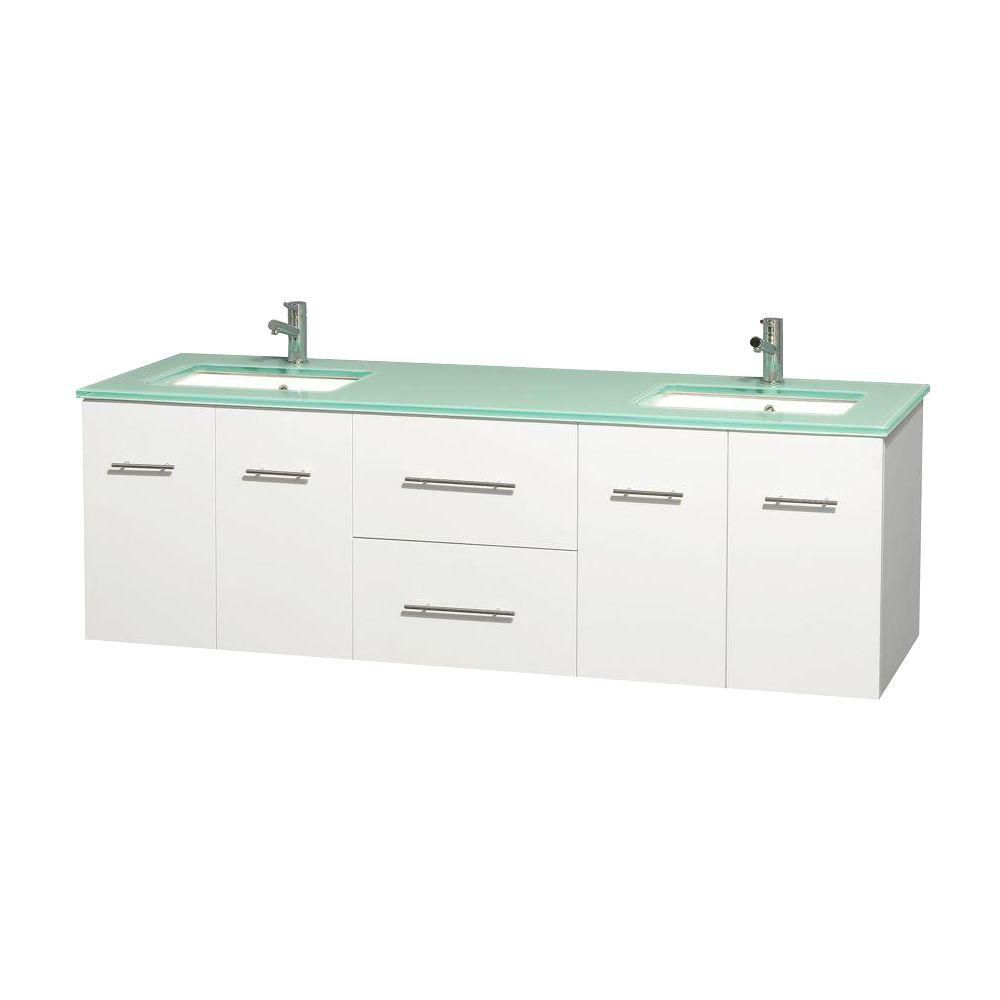 Centra 72-inch W Double Vanity in White with Glass Top with Square Basins