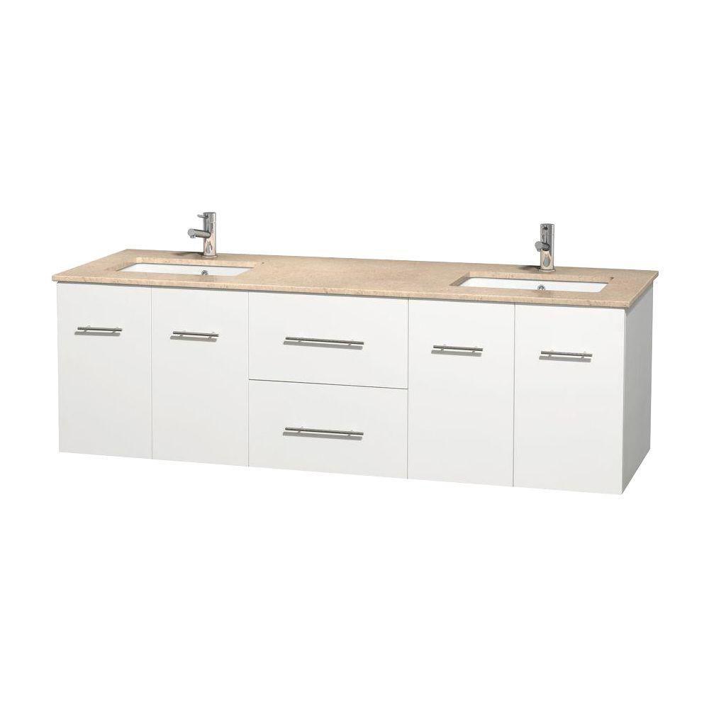 Meuble double Centra 72 po. blanc, comptoir marbre ivoire, lavabos carrés sans miroir