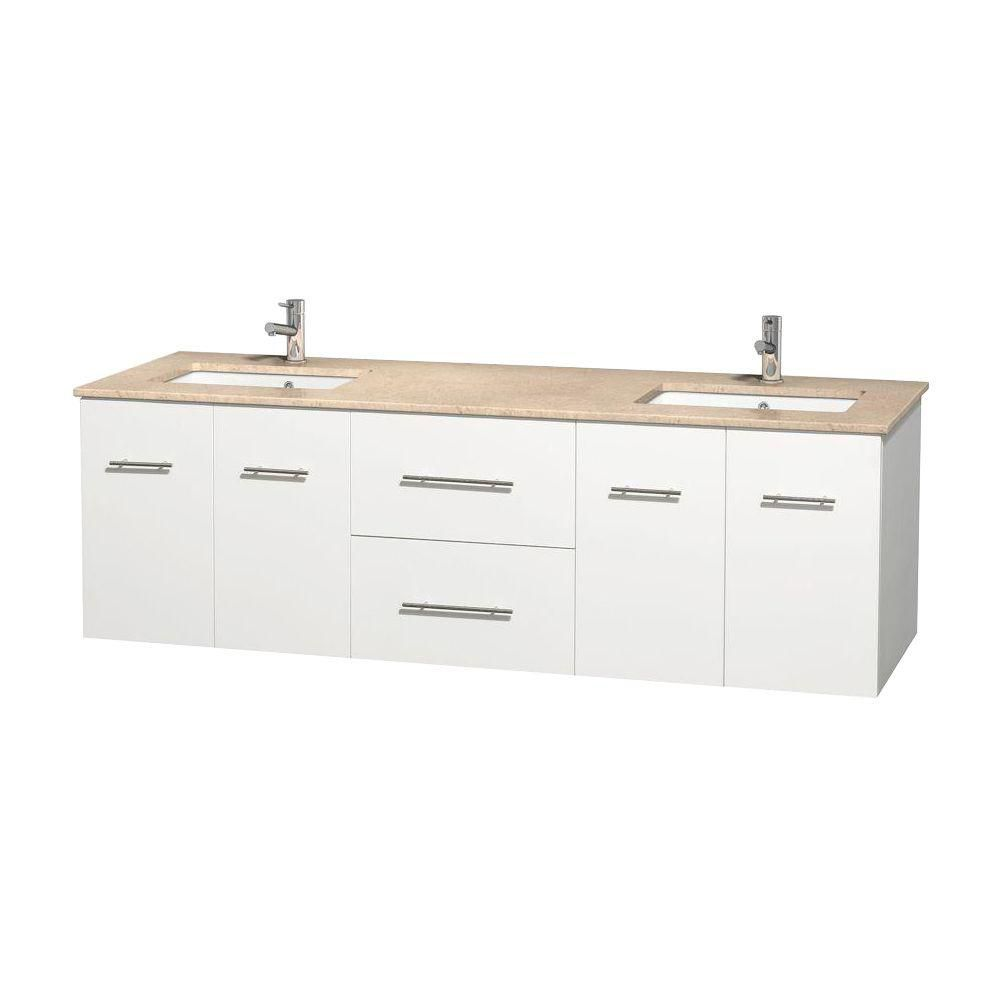 Centra 72-inch W Double Vanity in White with Marble Top in Ivory with Square Basins