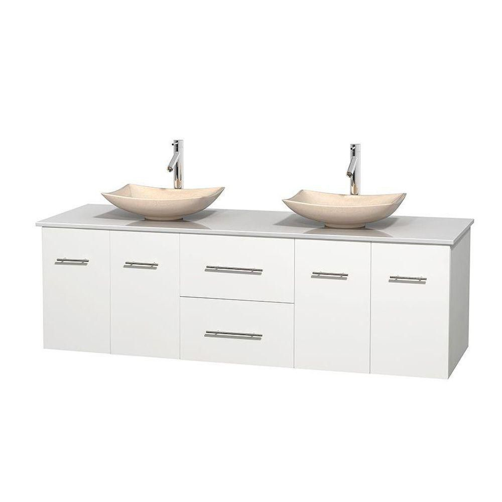 Centra 72-inch W Double Vanity in White with Solid Top with Ivory Basins