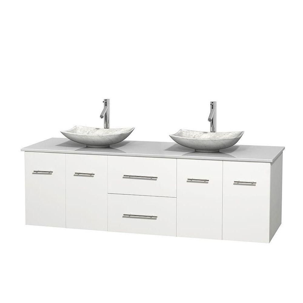 Centra 72-inch W Double Vanity in White with Solid Top with White Basins