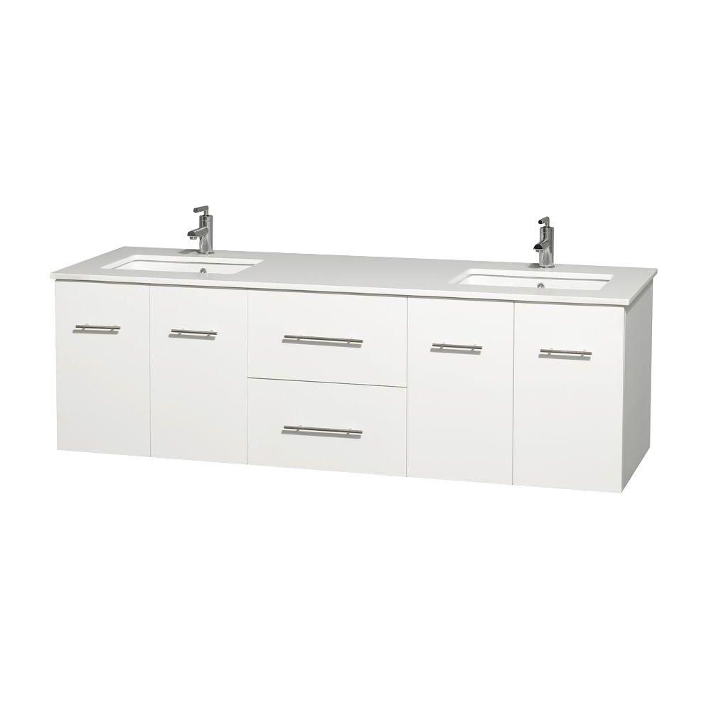 Centra 72-inch W Double Vanity in White with Solid Top with Square Basins