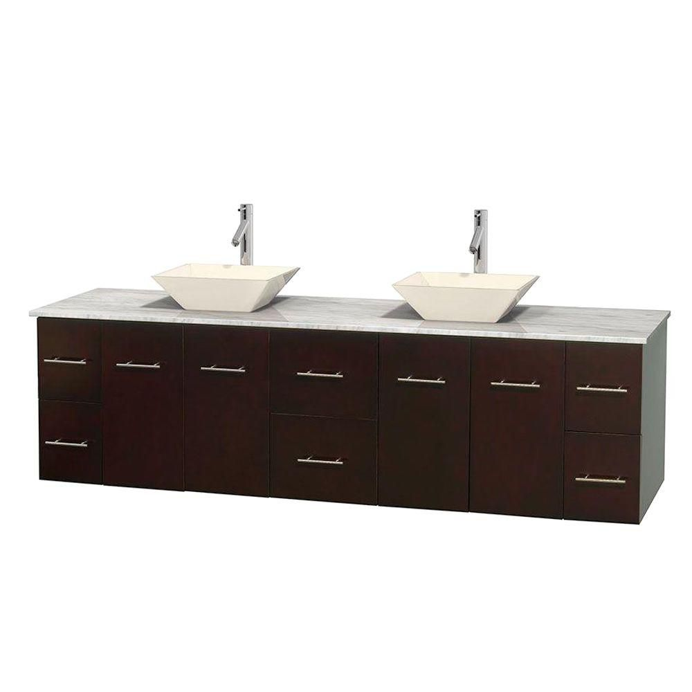 Centra 80-inch W Double Vanity in Espresso with White Top with Bone Basins