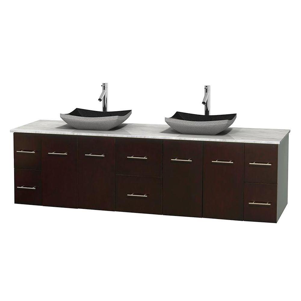 Meuble double Centra 80 po. espresso, comptoir blanc Carrare, lavabos granit noir, sans miroir