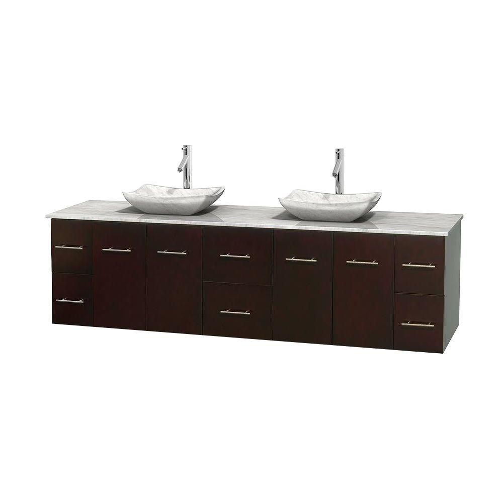 Centra 80-inch W Double Vanity in Espresso with White Top with White Basins