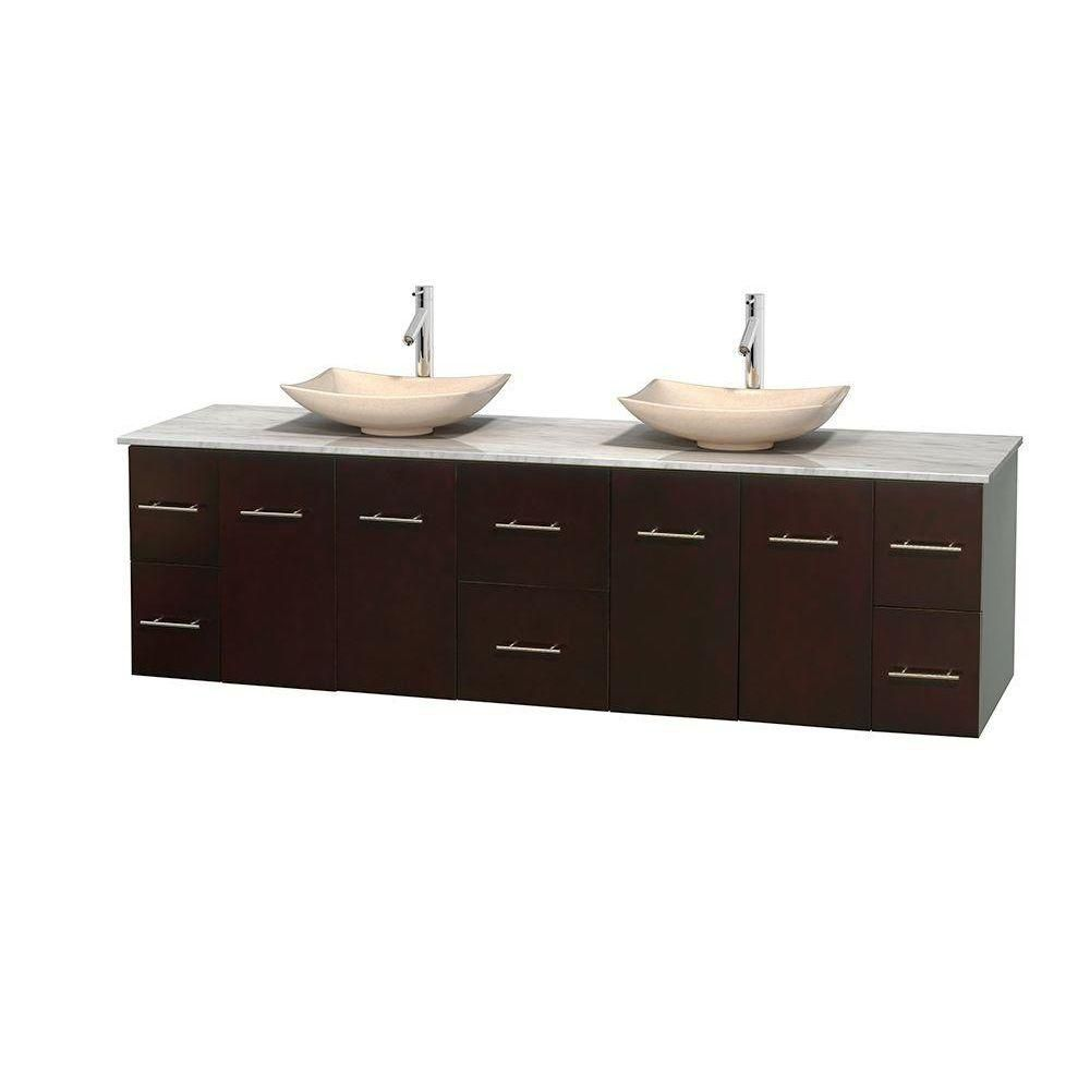 Centra 80-inch W Double Vanity in Espresso with White Top with Ivory Basins