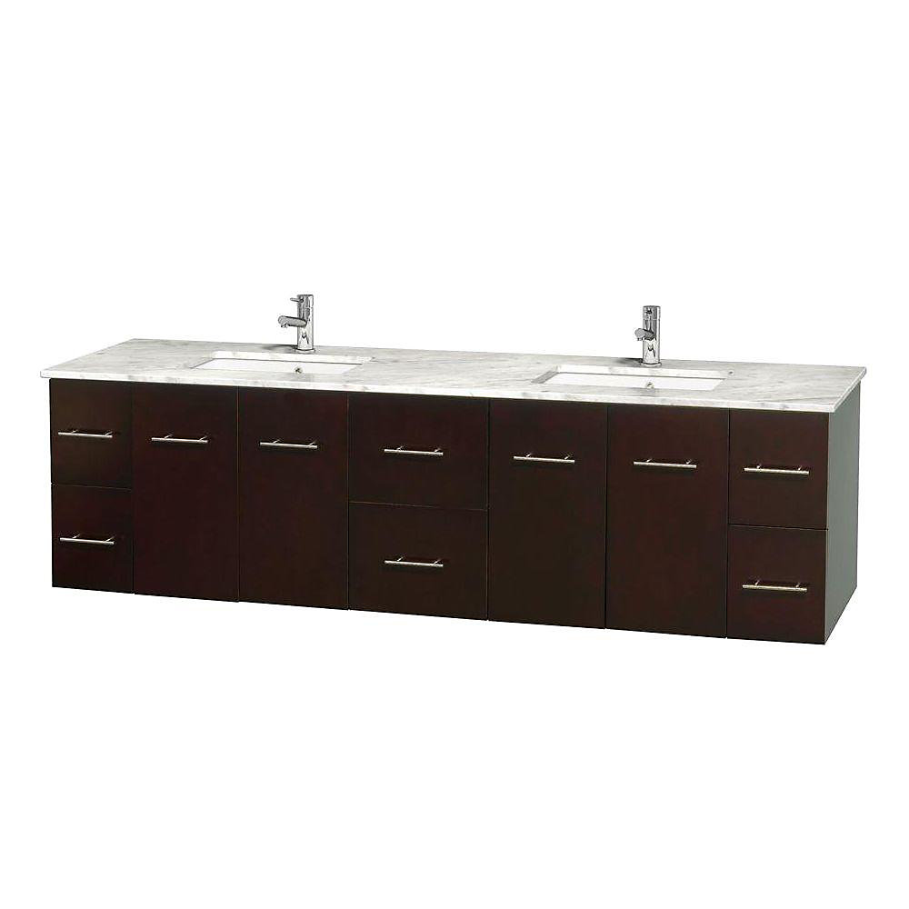 Centra 80-inch W 6-Drawer 4-Door Wall Mounted Vanity in Brown With Marble Top in White, 2 Basins