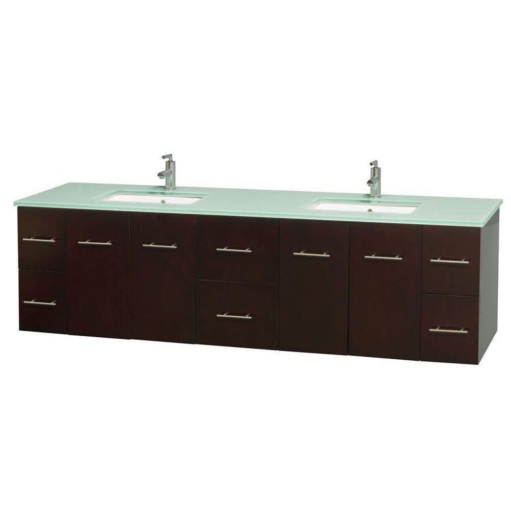 Meuble double Centra 80 po. espresso, comptoir verre vert, lavabos carrés sans miroir
