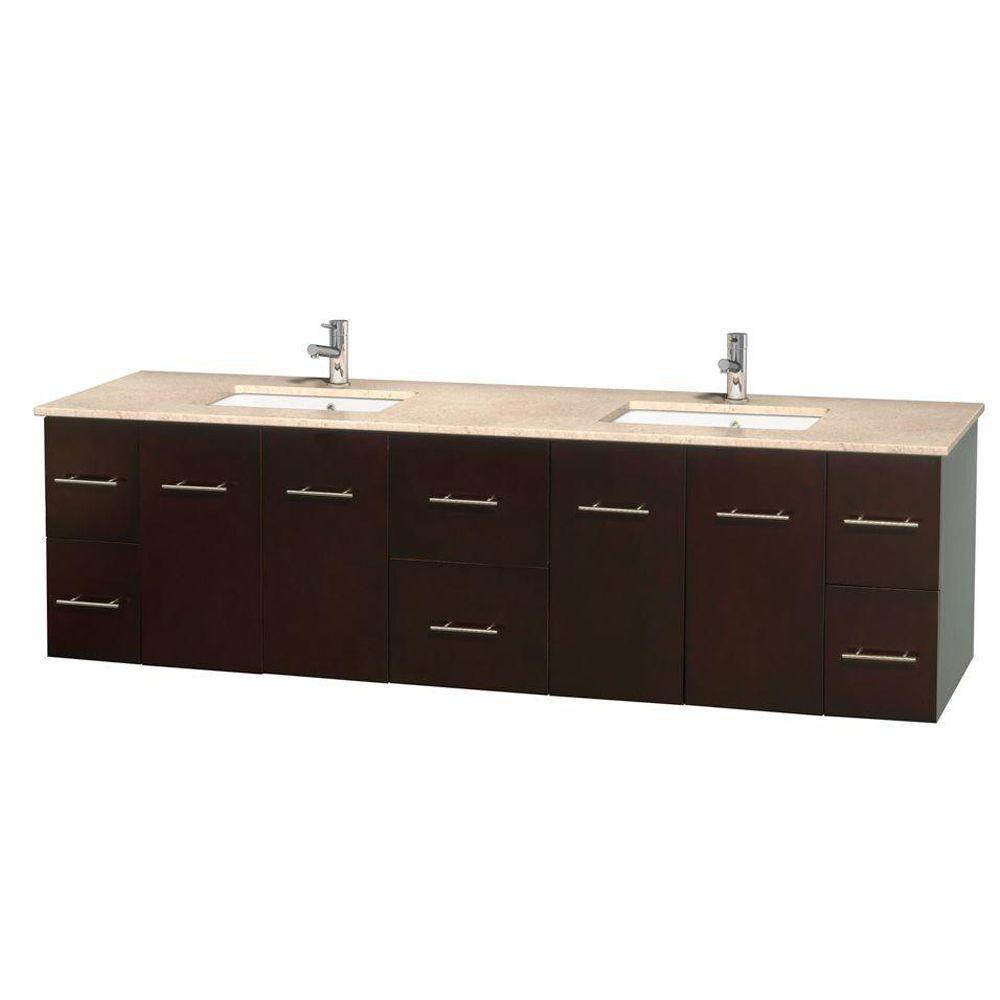 Meuble double Centra 80 po. espresso, comptoir marbre ivoire, lavabos carrés sans miroir