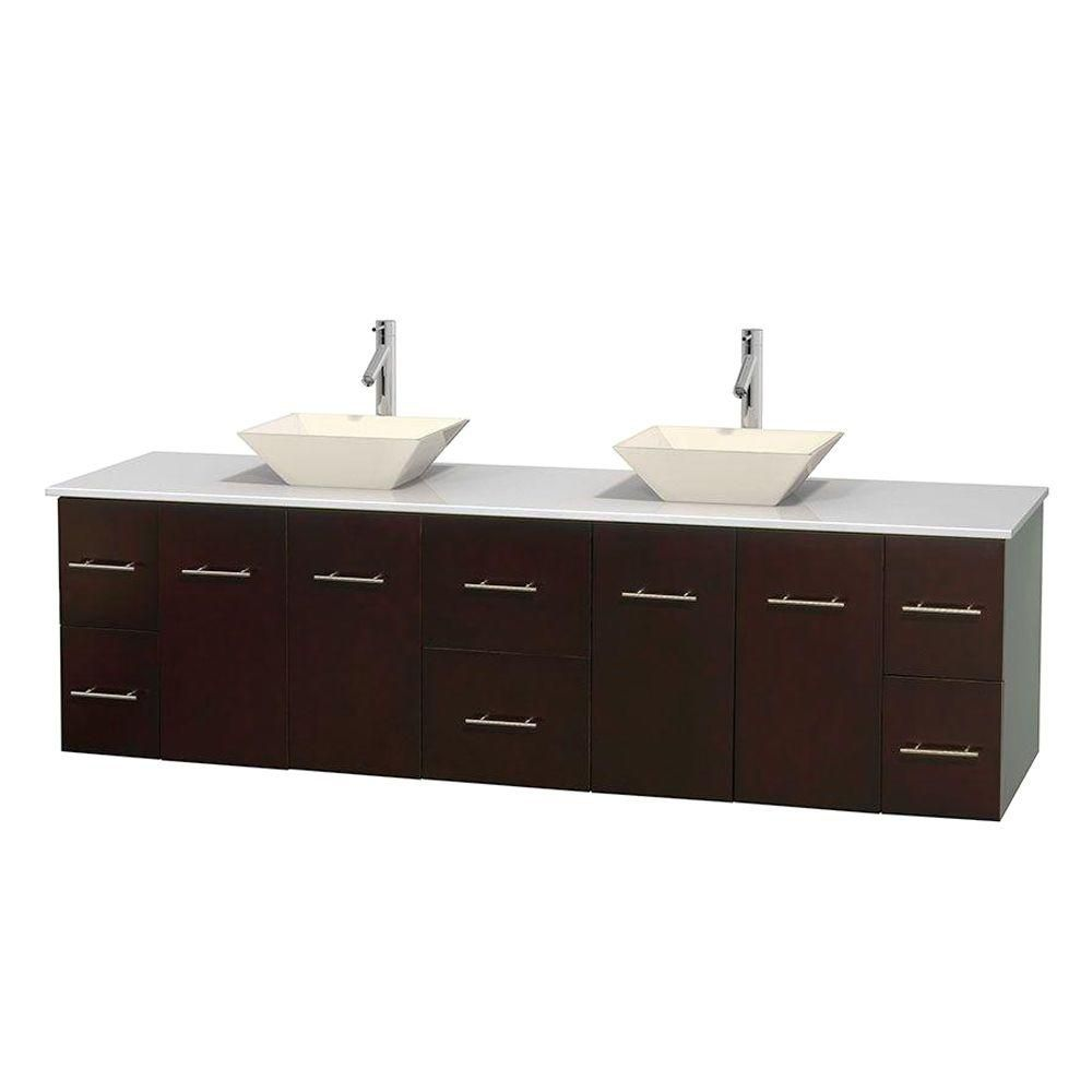 Centra 80-inch W Double Vanity in Espresso with Solid Top with Bone Basins