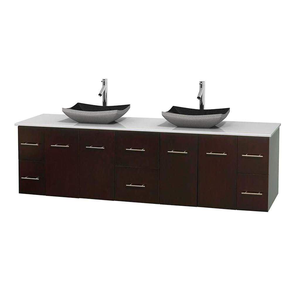Centra 80-inch W 6-Drawer 4-Door Vanity in Brown With Artificial Stone Top in White, Double Basins