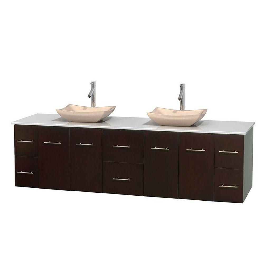 Centra 80-inch W Double Vanity in Espresso with Solid Top with Ivory Basins