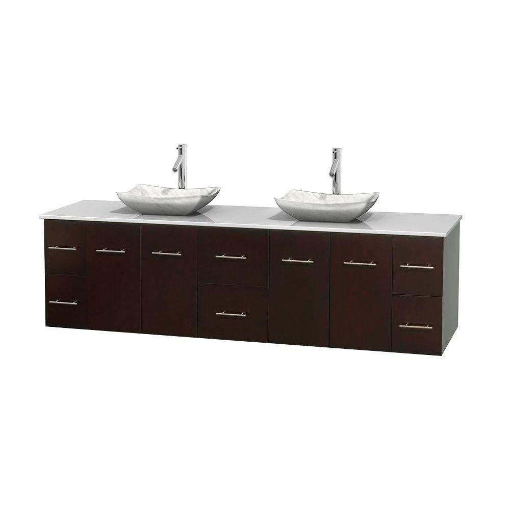 Centra 80-inch W Double Vanity in Espresso with Solid Top with White Basins