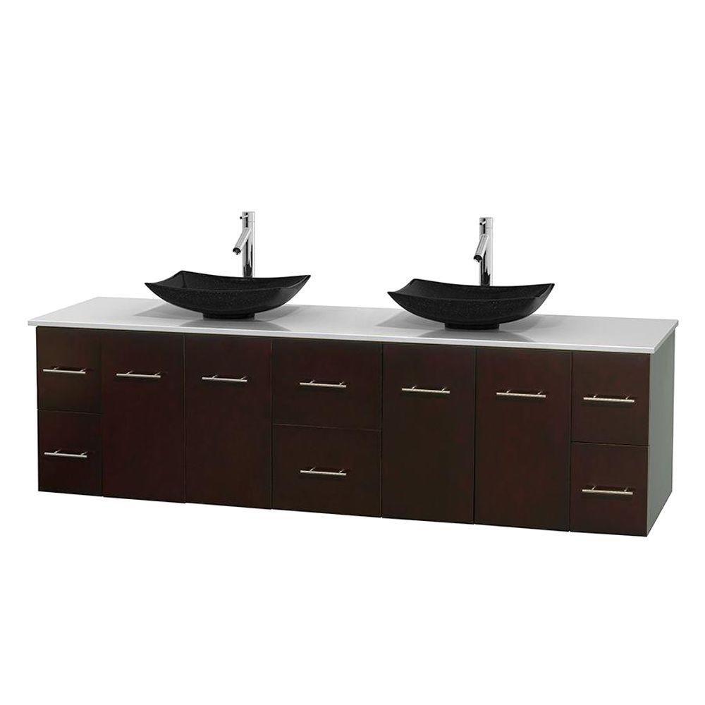 Meuble double Centra 80 po. espresso, comptoir solide, lavabos granit noir, sans miroir