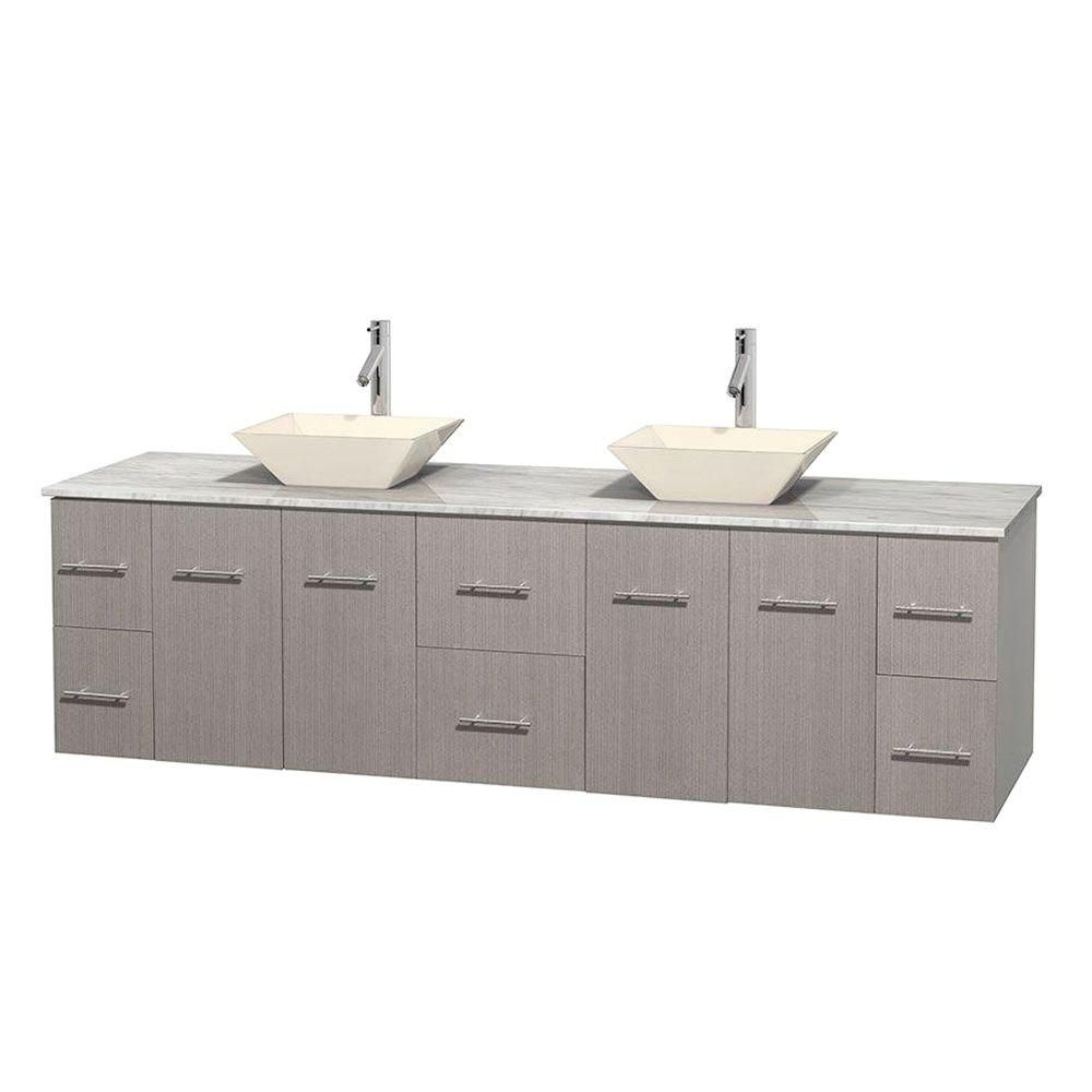 Centra 80-inch W Double Vanity in Grey Oak with White Top with Bone Basins