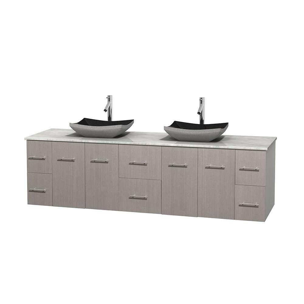 Centra 80-inch W Double Vanity in Grey Oak with White Top with Black Basins