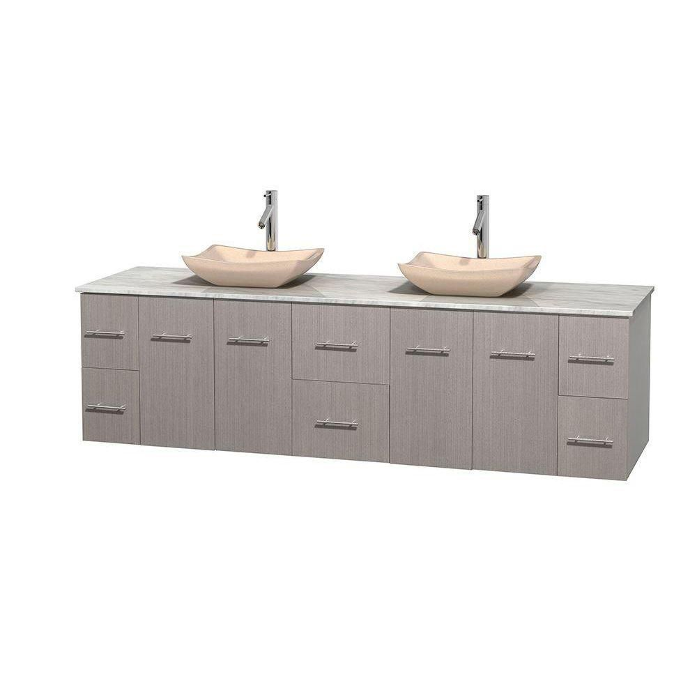 Centra 80-inch W Double Vanity in Grey Oak with White Top with Ivory Basins