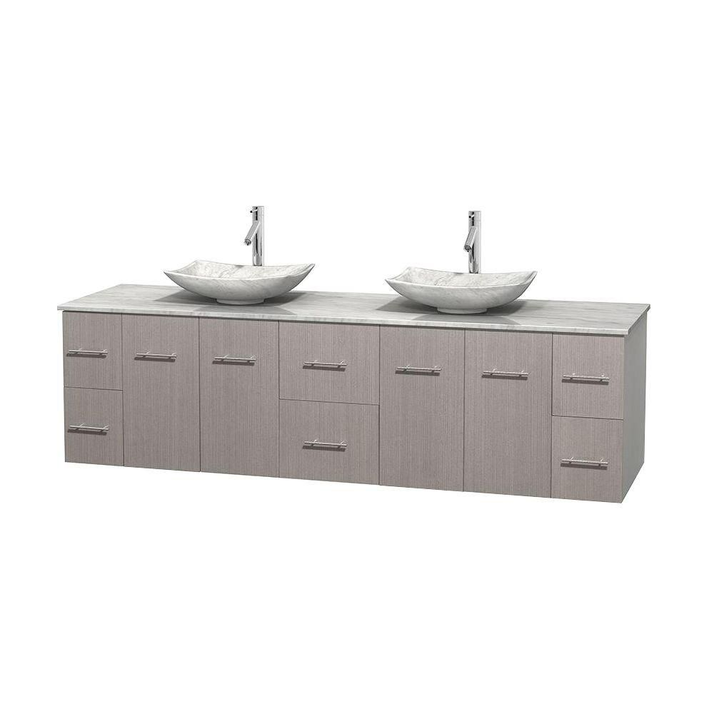 Meuble double Centra 80 po. chêne gris, comptoir blanc Carrare, lavabos blanc Carrare, sans miroi...