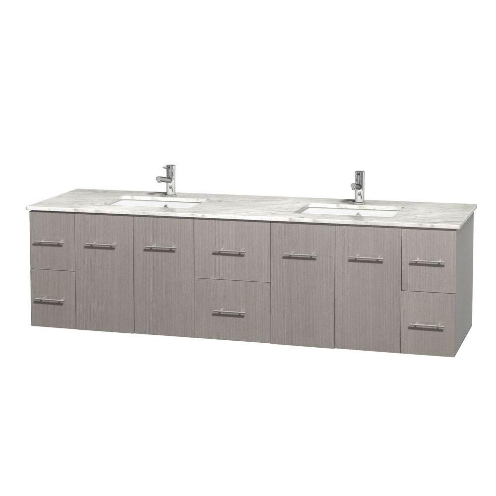 Centra 80-inch W Double Vanity in Grey Oak with White Top with Square Basins