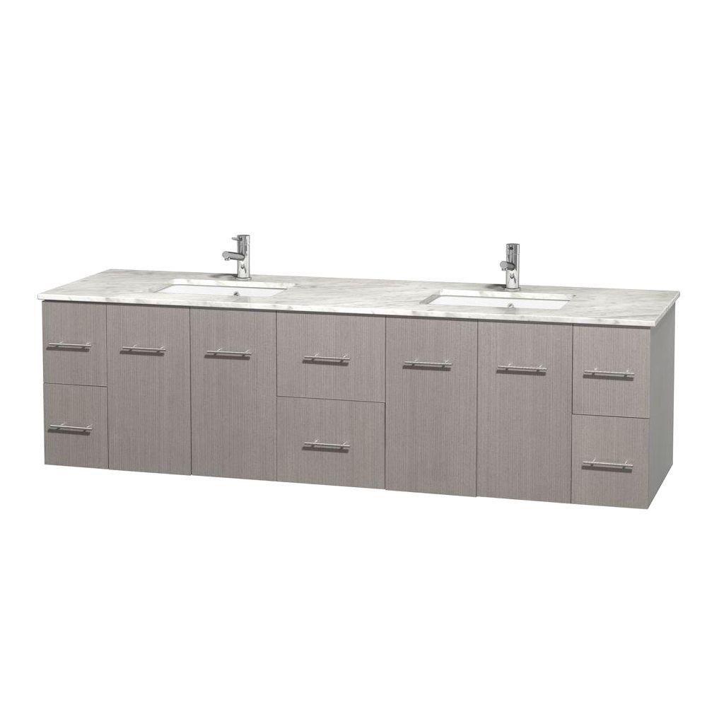 Meuble double Centra 80 po. chêne gris, comptoir blanc Carrare, lavabos carrés sans miroir