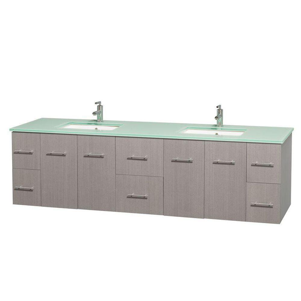 Meuble double Centra 80 po. chêne gris, comptoir verre vert, lavabos carrés sans miroir
