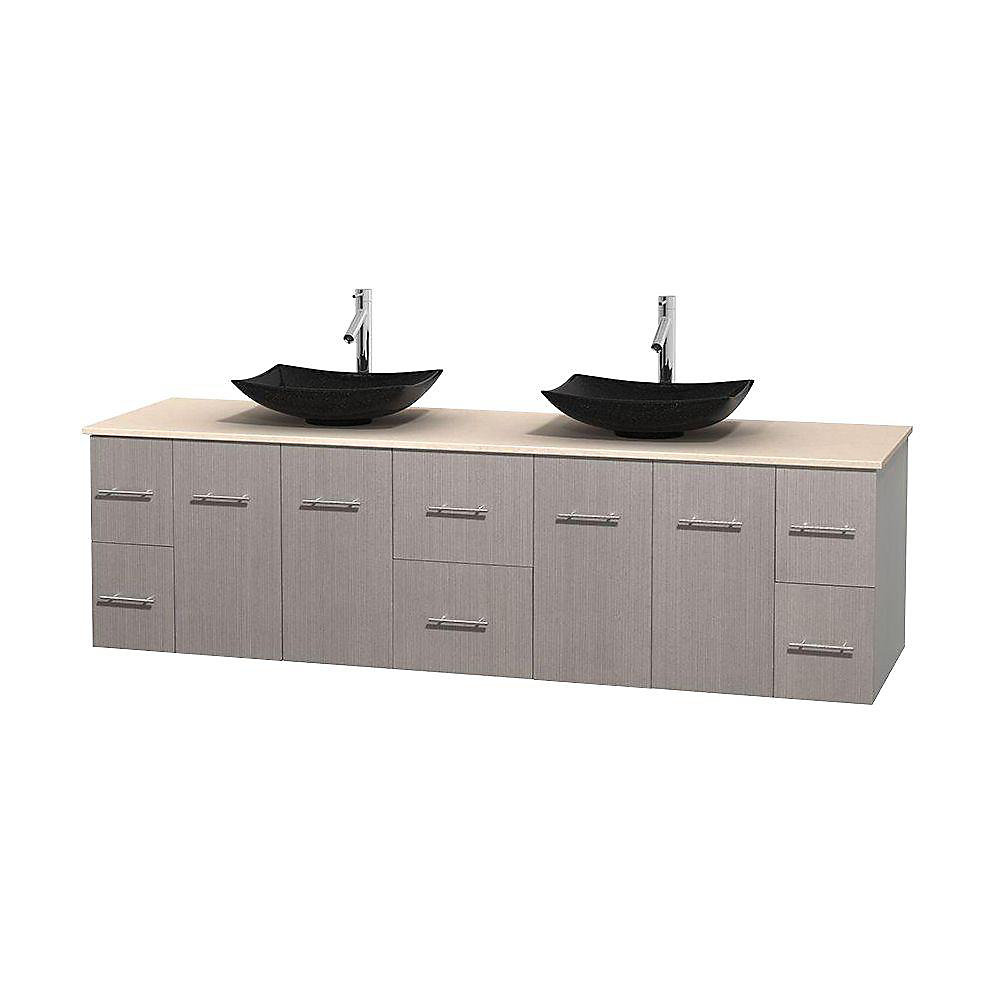 Centra 80-inch W 6-Drawer 4-Door Wall Mounted Vanity in Grey With Marble Top in Beige Tan, 2 Basins