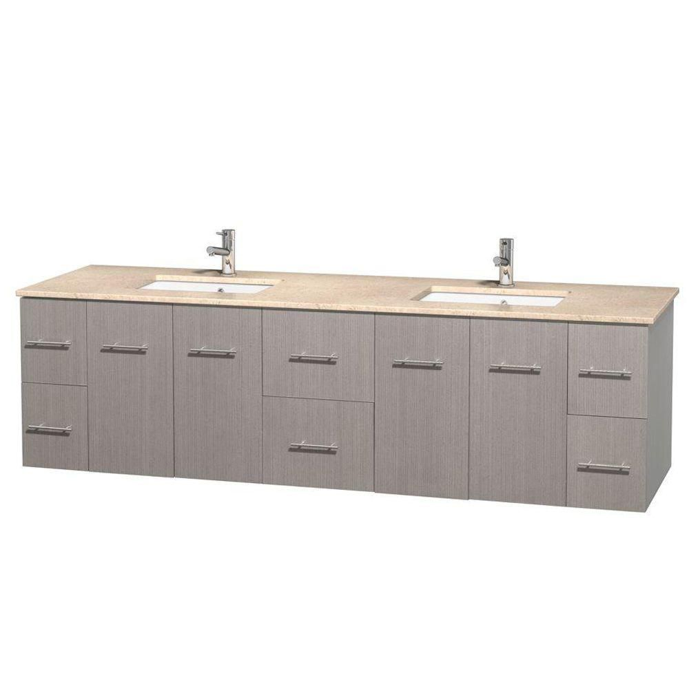 Centra 80-inch W Double Vanity in Grey Oak with Marble Top in Ivory with Square Basins