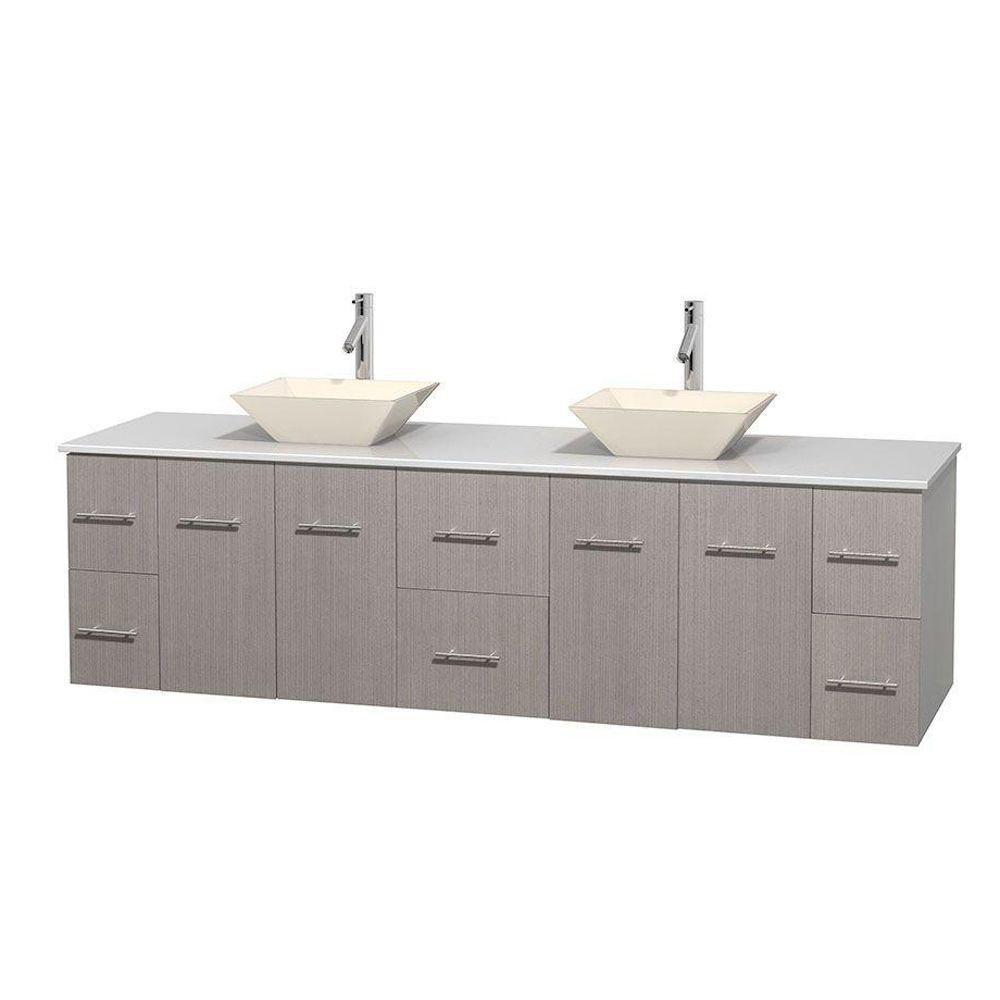 Meuble double Centra 80 po. chêne gris, comptoir solide, lavabos porcelaine bone sans miroir