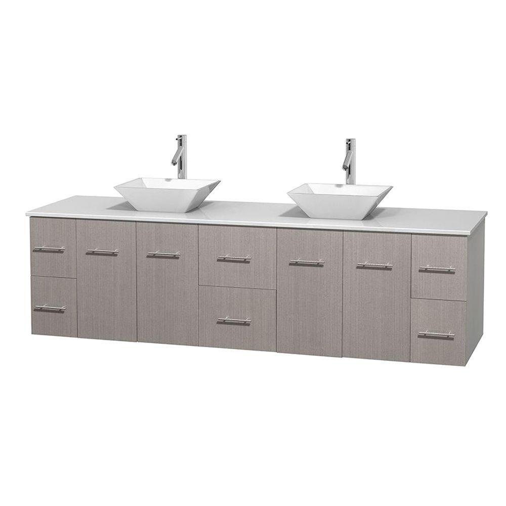 Meuble double Centra 80 po. chêne gris, comptoir solide, lavabos porcelaine blanche sans miroir