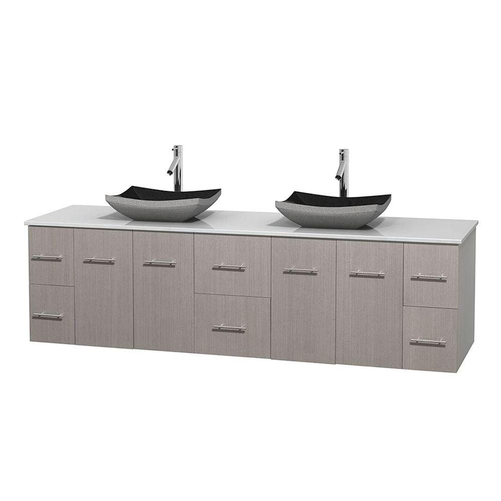 Centra 80-inch W 6-Drawer 4-Door Vanity in Grey With Artificial Stone Top in White, Double Basins