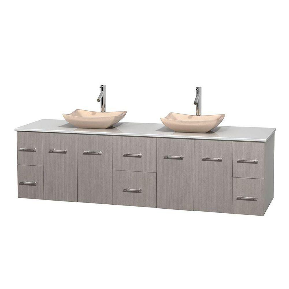 Centra 80-inch W Double Vanity in Grey Oak with Solid Top with Ivory Basins