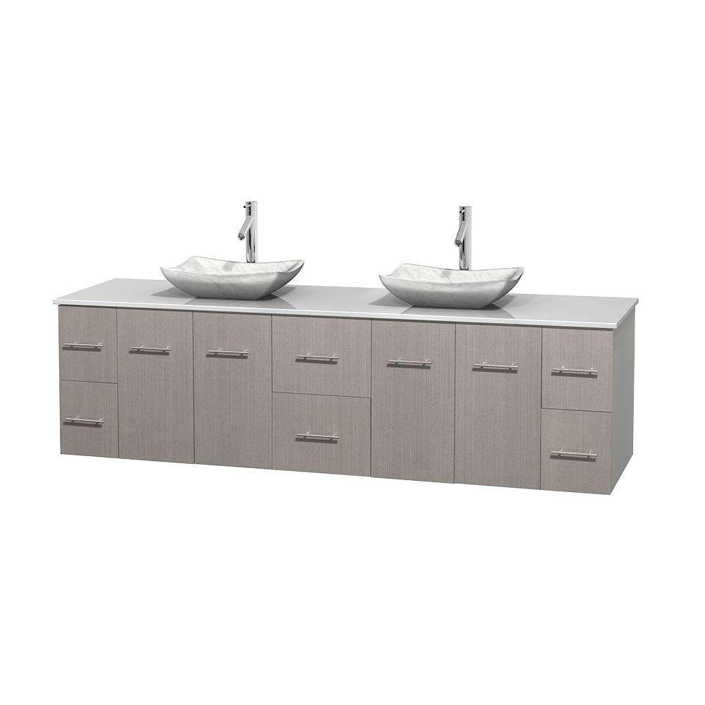 Meuble double Centra 80 po. chêne gris, comptoir solide, lavabos blanc Carrare, sans miroir