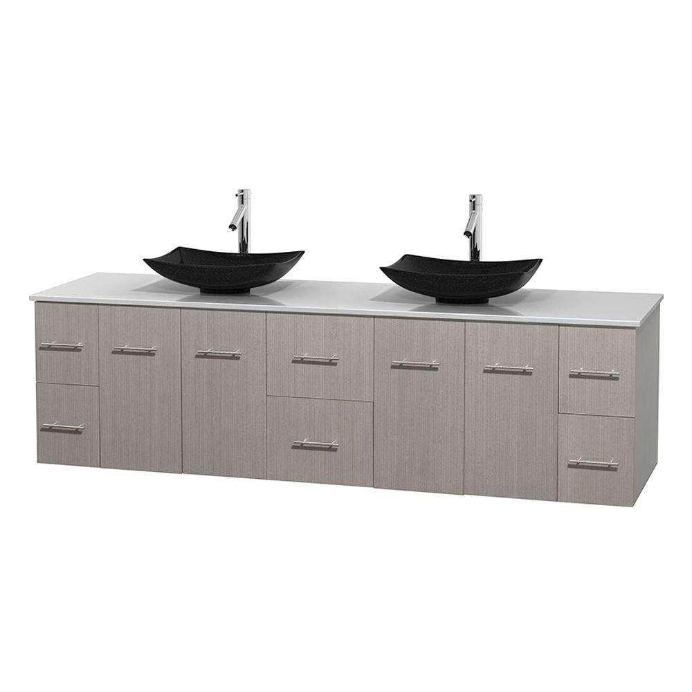 Centra 80-inch W Double Vanity in Grey Oak with Solid Top with Black Basins