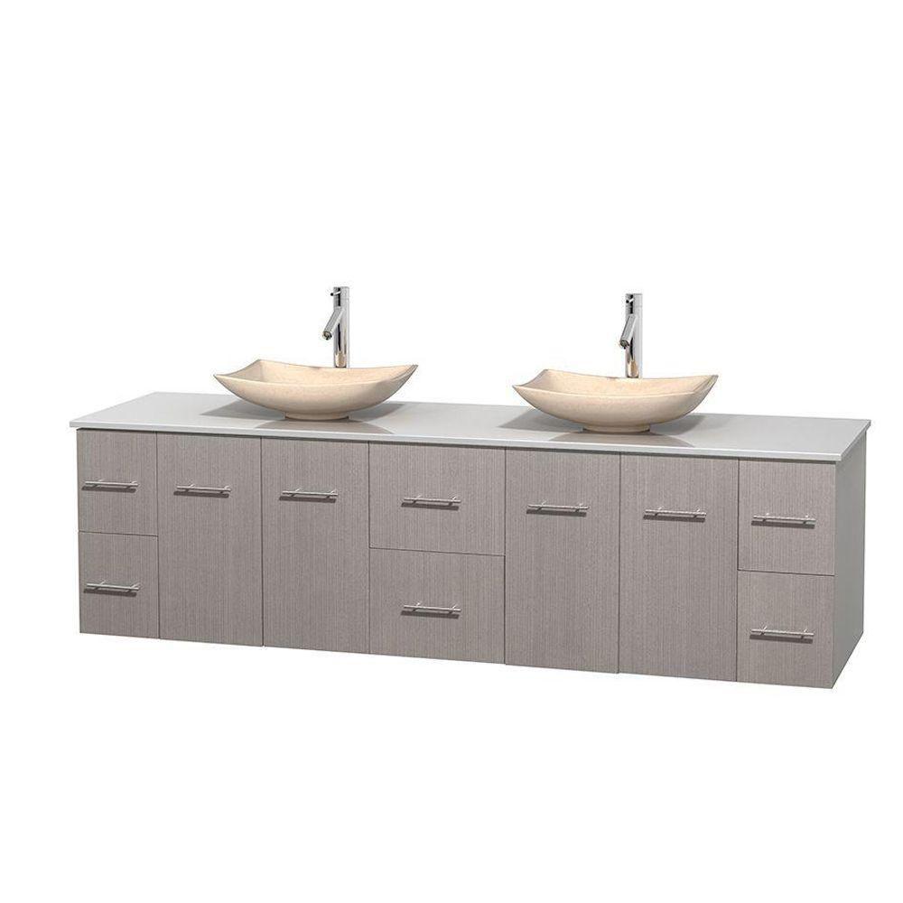 Meuble double Centra 80 po. chêne gris, comptoir solide, lavabos ivoire, sans miroir