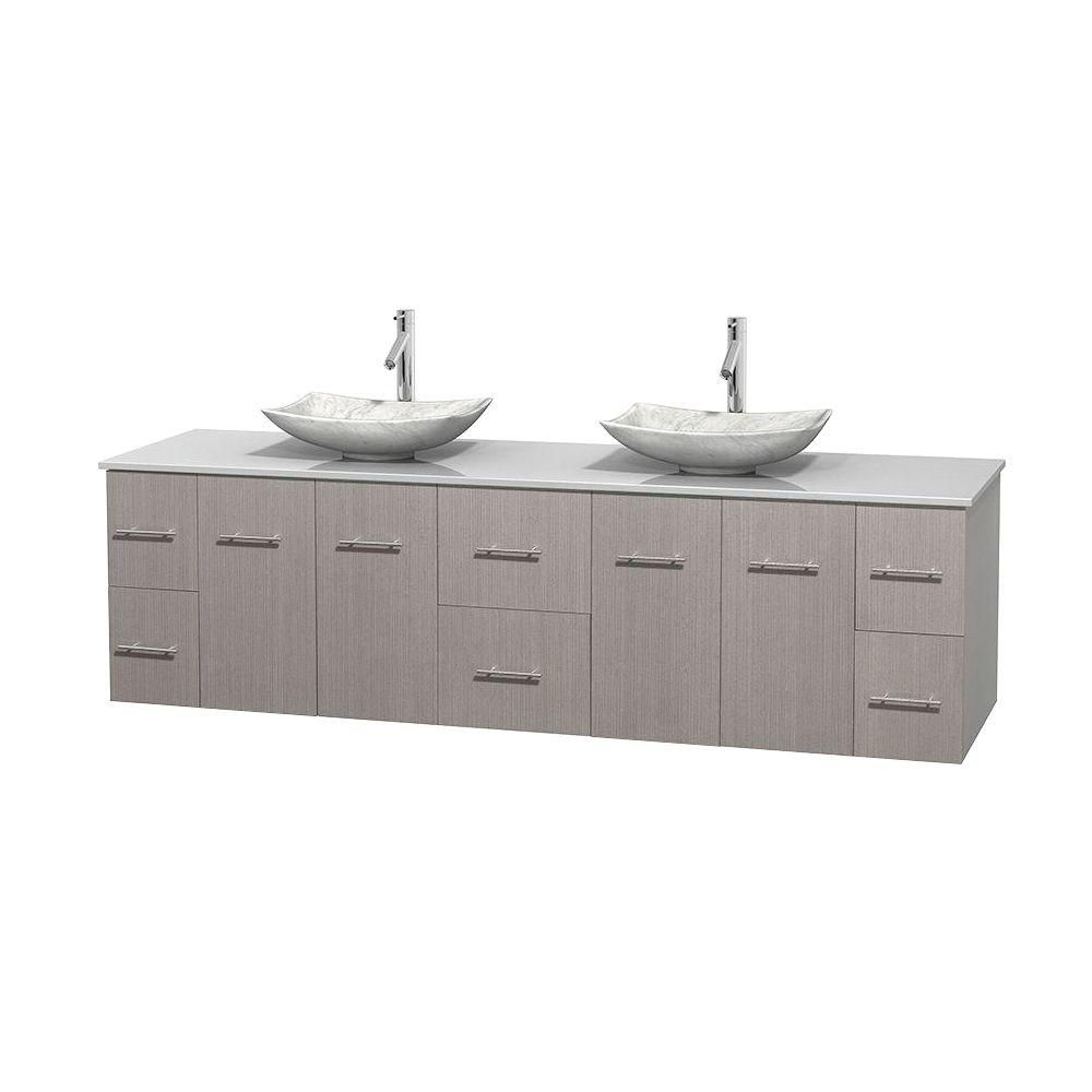 Centra 80-inch W Double Vanity in Grey Oak with Solid Top with White Basins