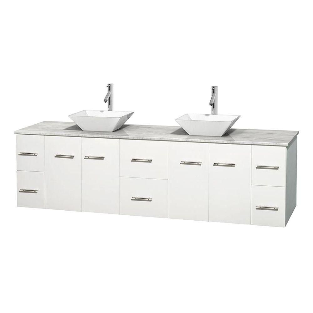 Centra 80-inch W Double Vanity in White with Top in Carrara White and Porcelain Sinks