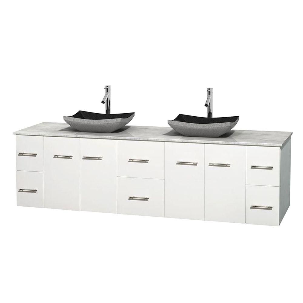 Centra 80-inch W Double Vanity in White with White Top with Black Basins