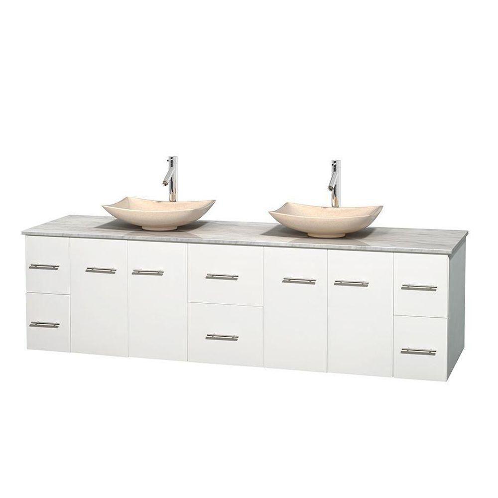 Meuble double Centra 80 po. blanc, comptoir blanc Carrare, lavabos ivoire, sans miroir