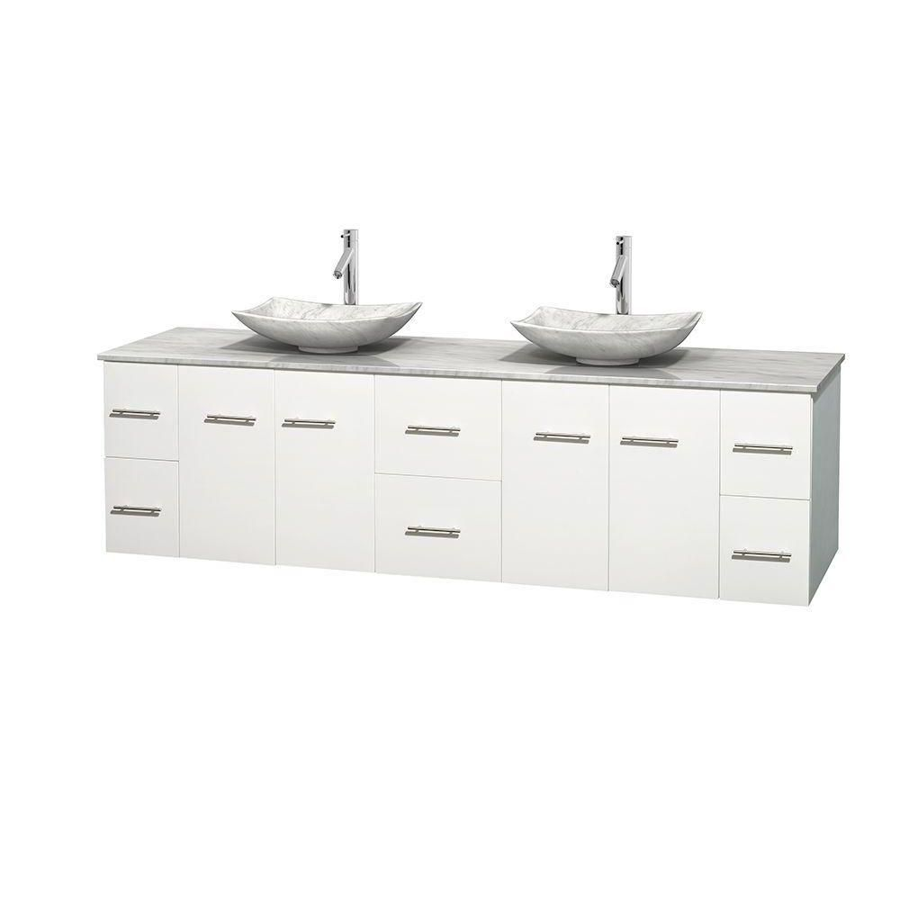 Meuble double Centra 80 po. blanc, comptoir blanc Carrare, lavabos blanc Carrare, sans miroir