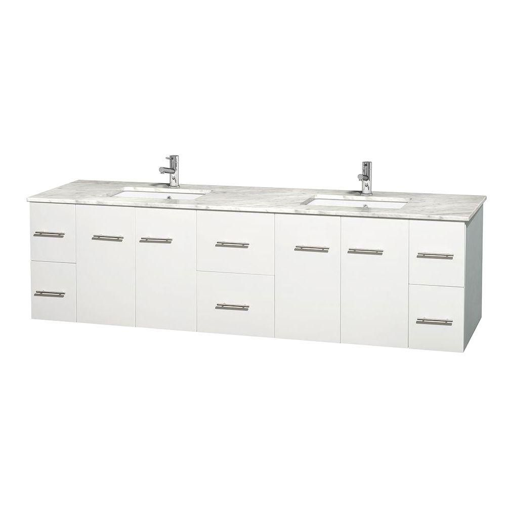 Centra 80-inch W Double Vanity in White with Top in Carrara White and Square Sinks