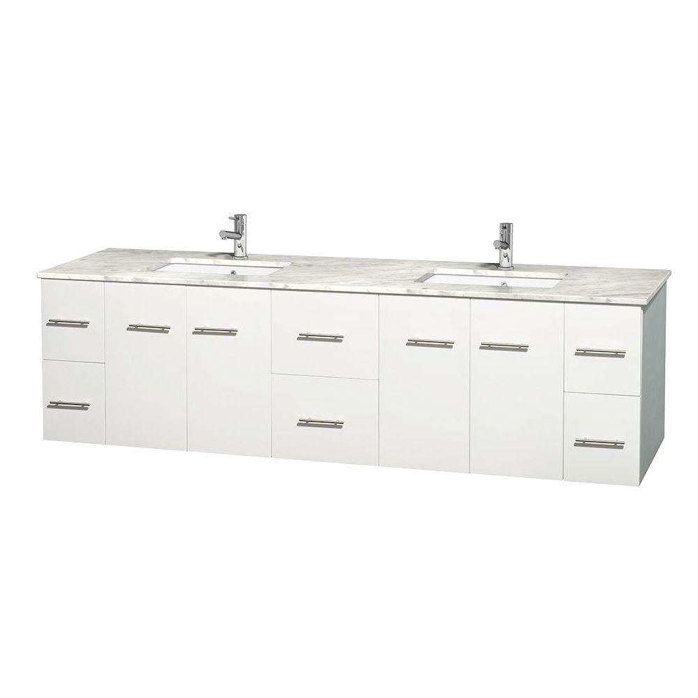 Meuble double Centra 80 po. blanc, comptoir blanc Carrare, lavabos carrés sans miroir
