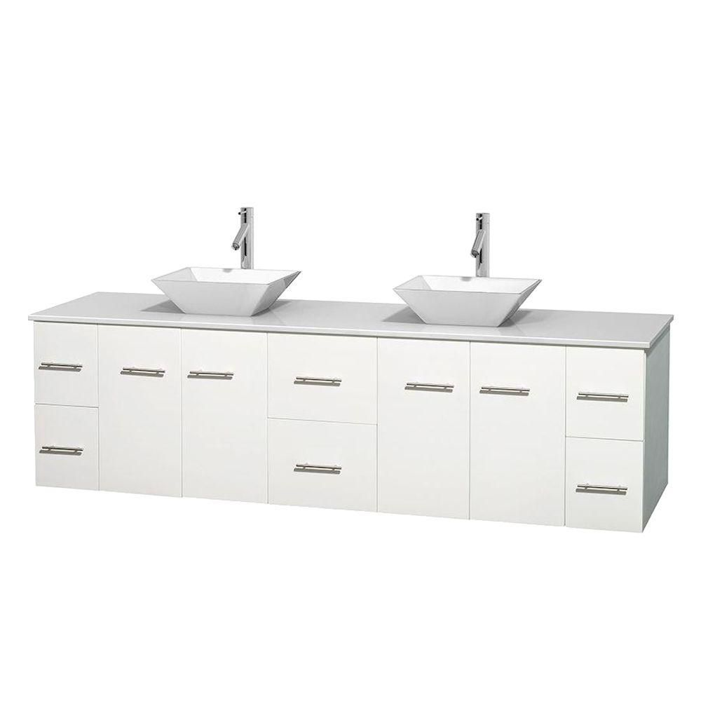 Centra 80-inch W Double Vanity in White with Solid Top with White Basins