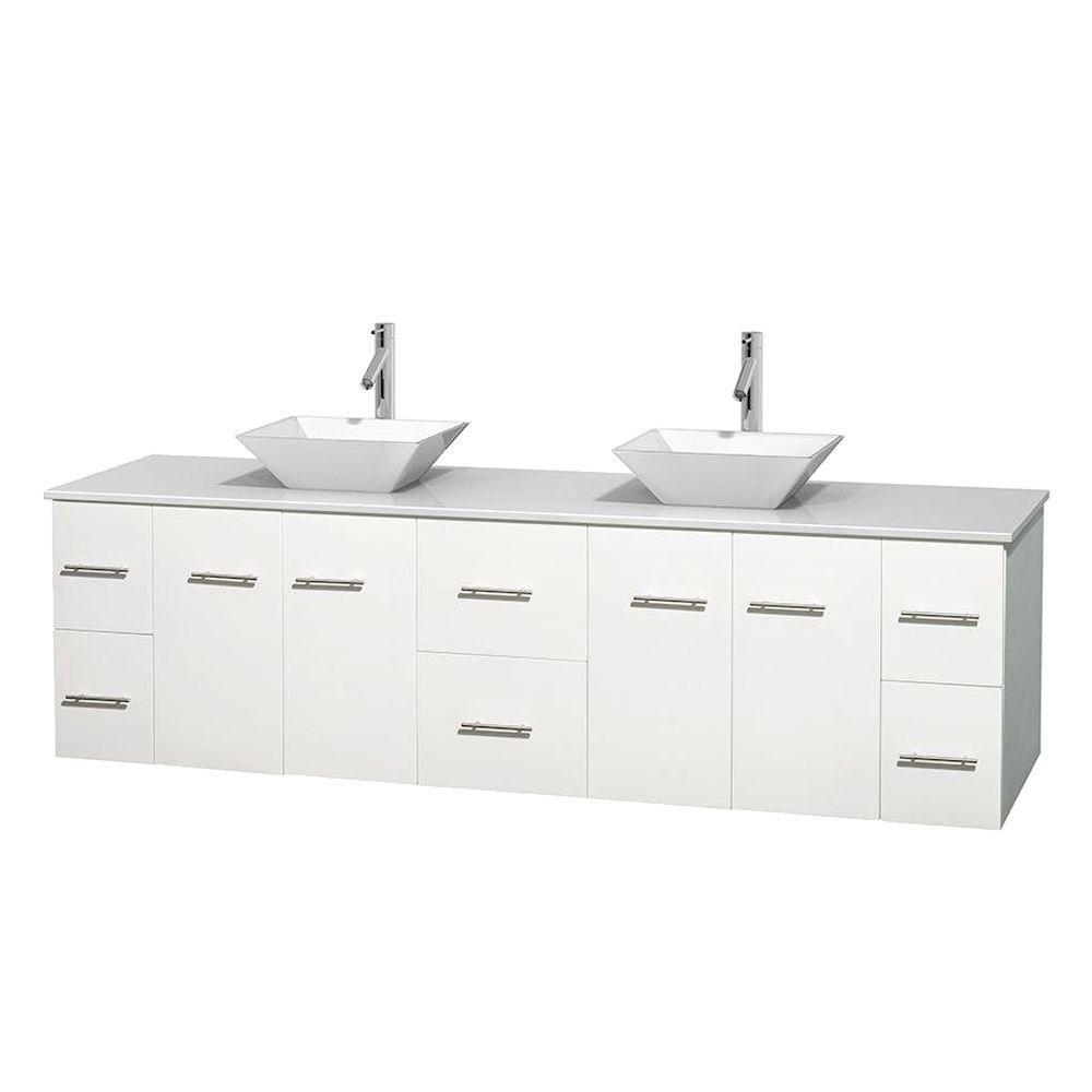 Meuble double Centra 80 po. blanc, comptoir solide, lavabos porcelaine blanche sans miroir